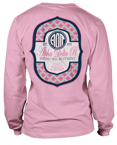 1167 alpha delta pi monogram t shirt greekshirts for Sorority t shirts designs