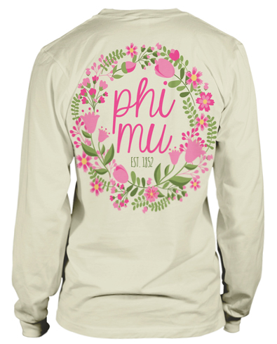 1740 Phi Mu Floral Wreath T-shirt
