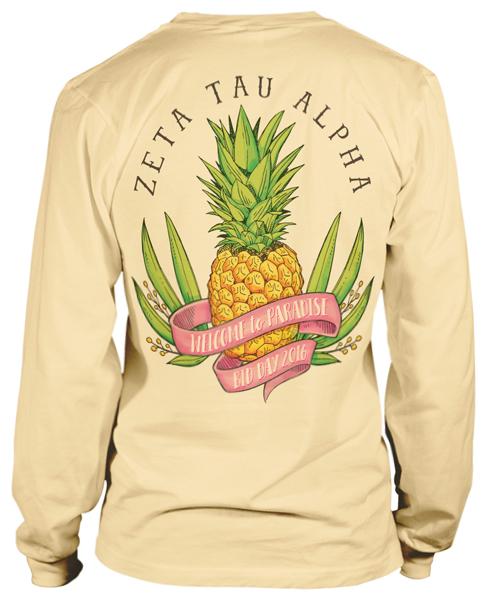 1882 Zeta Tau Alpha Pineapple T Shirt Greekshirts