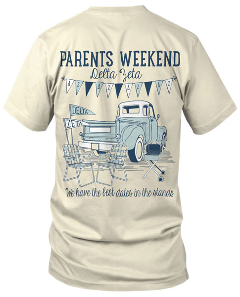 5024 delta zeta parents weekend tshirt greekshirts for Greek life t shirt designs