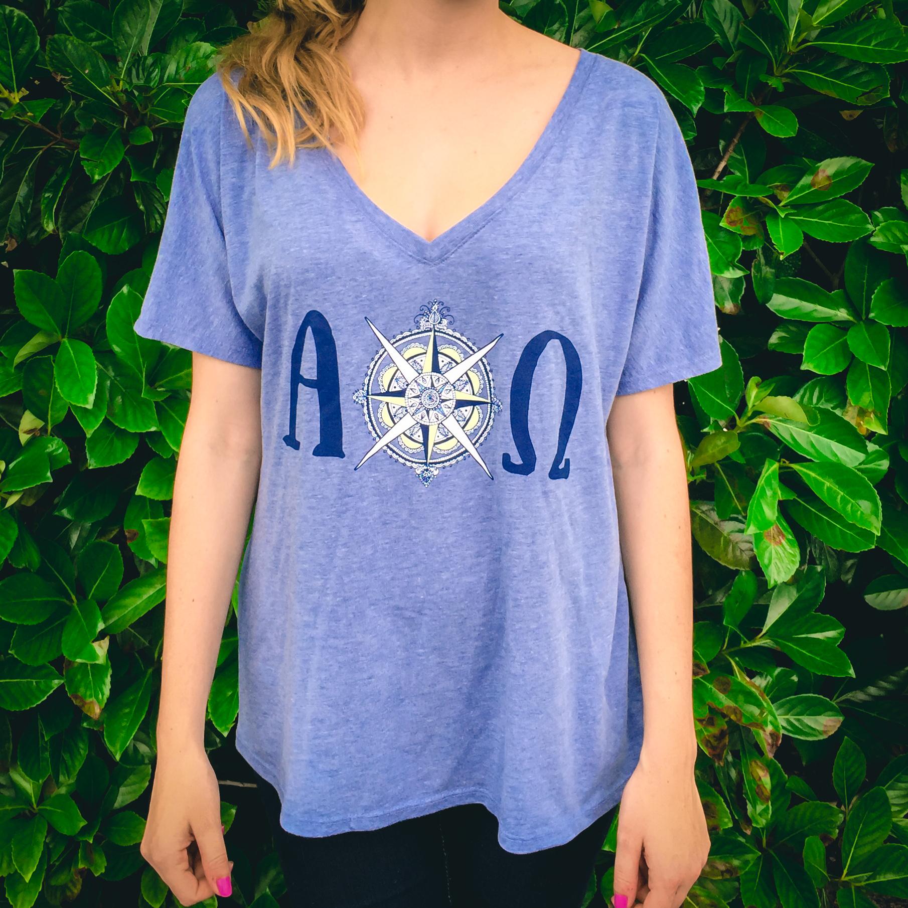 Alpha Chi Omega Flowy V-neck T-shirt