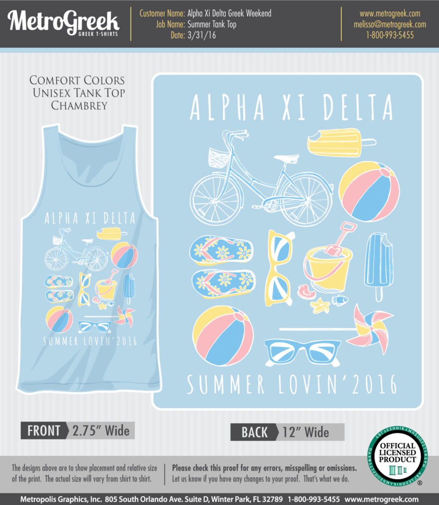 Alpha Xi Delta Summer Tank Top