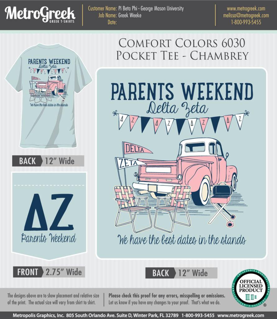 Delta Zeta Parents Day T-shirt