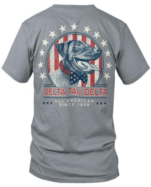 Delta Tau Delta Patriotic Dog T-shirt
