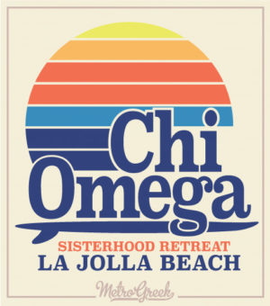 Chi Omega Retro Surf Shirt