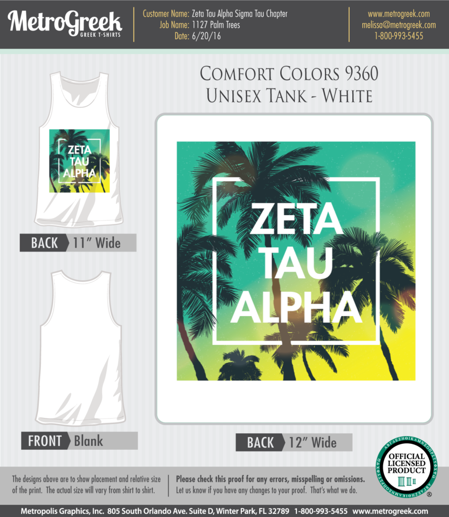 Zeta Tau Alpha Sorority Tank Top