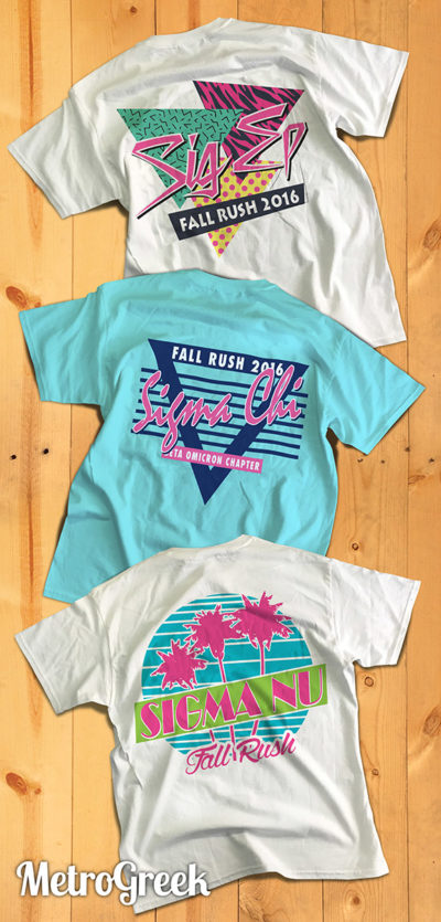 Retro Eighties Style Greek T-shirts