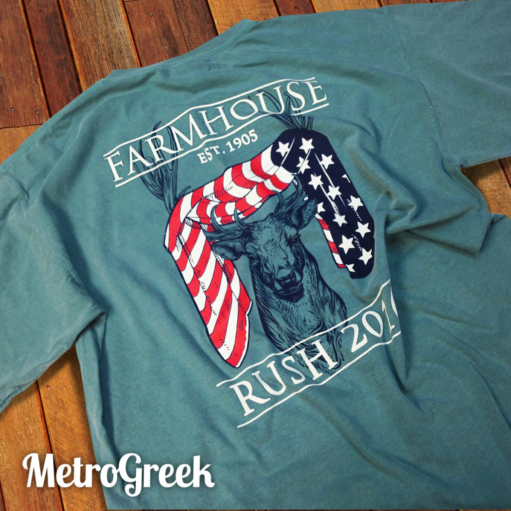 Farmhouse deer rush tshirt greekshirts for Sorority t shirt design