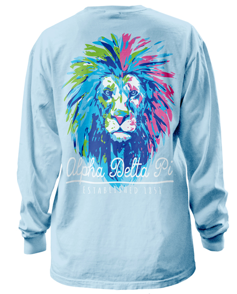 1322 alpha delta pi lion t shirt greekshirts for Sorority t shirt design