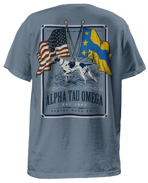 Alpha Tau Omega Flag and Dog T-shirt