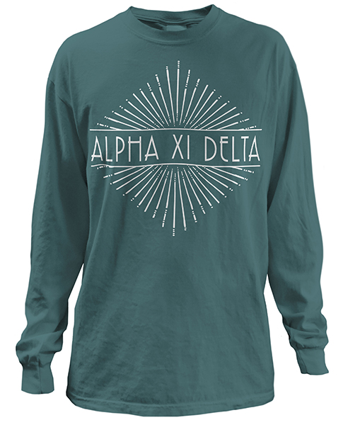 1935 alpha xi delta sunburst t shirt greekshirts for Sorority t shirt design