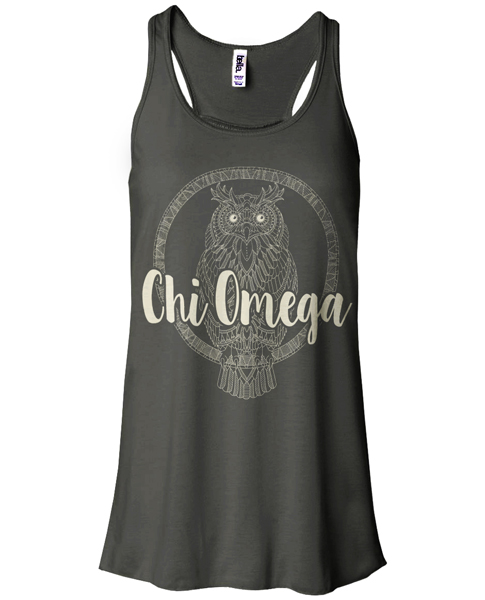 Chi Omega Owl on Bella Tank Top