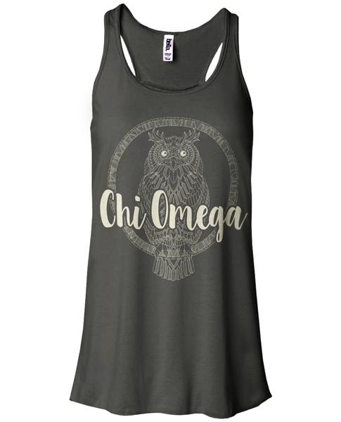 Chi Omega Owl on Bella Tank Top
