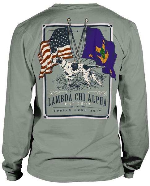 2674 lambda chi alpha flag rush t shirt greekshirts for Fraternity rush shirt ideas