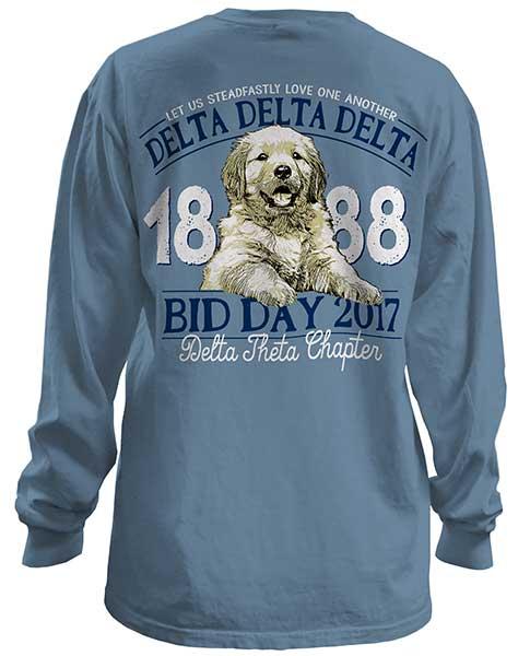 1023 tri delta lab puppy bid day tshirt greekshirts for Sorority t shirts designs