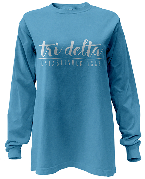 cdca9bb8546 Greek Designs · Submit Your Idea · Apparel · Contact · FAQ · View Designs.  Tri Delta Script Long Sleeve T-shirt