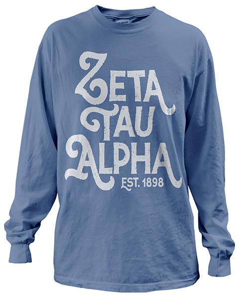 1904 zeta tau alpha big text t shirt greekshirts for Fraternity t shirt design