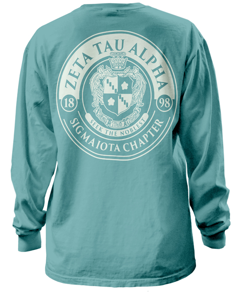 1392 zeta tau alpha crest t shirt greekshirts for Sorority t shirts designs