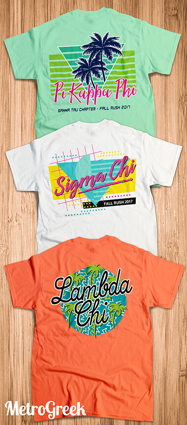 Fraternity Rush Shirts With A Retro 80s Look Greekshirts