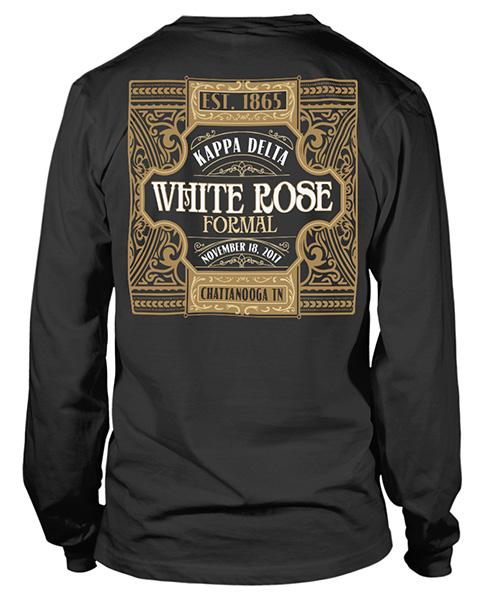 3057ff945 6074 Kappa Delta White Rose Formal T-shirt | Greek Shirts