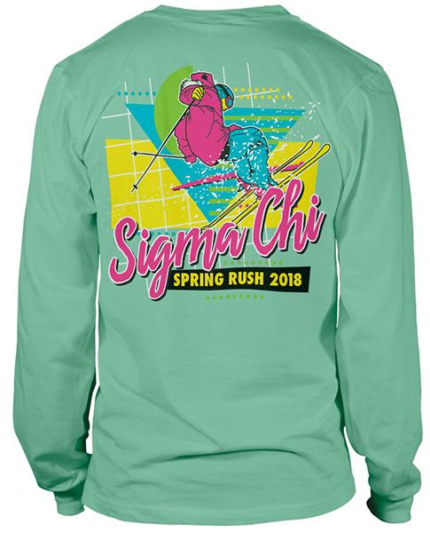 2693 sigma chi rush shirt ski eighties greekshirts for Fraternity rush shirt ideas