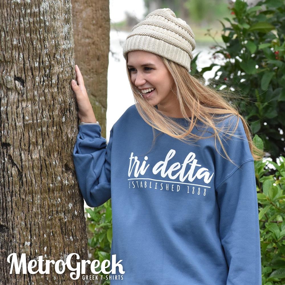 Tri Delta Script Sweatshirt