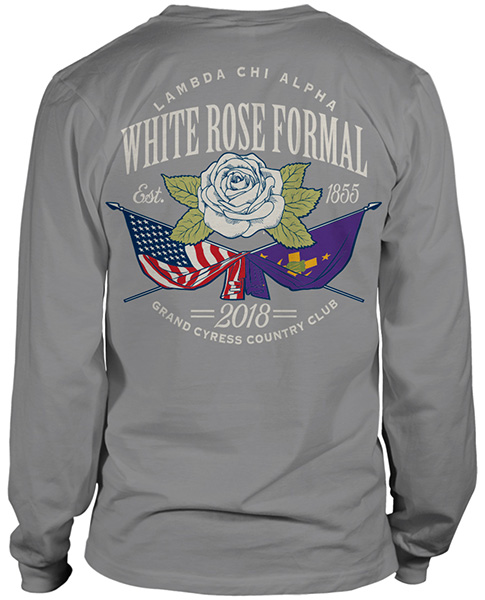 Lambda Chi White Rose Formal Shirt