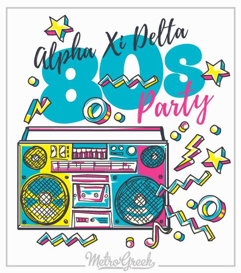Alpha Xi Eighties Party T-shirt