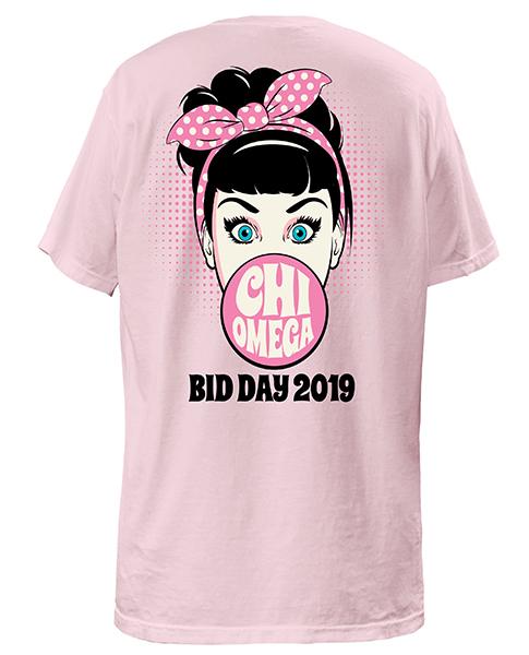 Chi Omega Bid Day T-shirts Bubble Gum