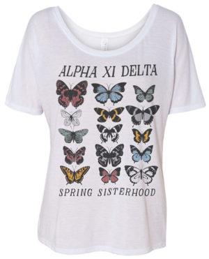 Alpha Xi Delta Sisterhood Shirt with Butterfly