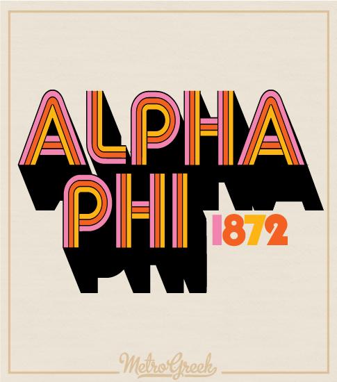 Alpha Phi Retro Font Shirt