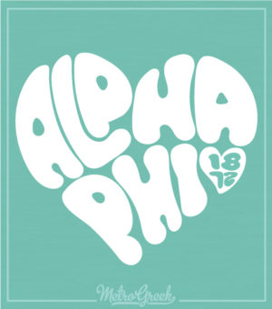 Alpha Phi Retro Heart Shirt