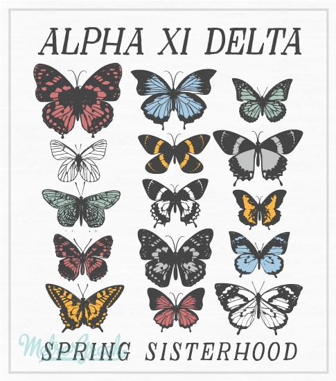 Alpha Xi Delta Sisterhood T-shirt with Butterflies
