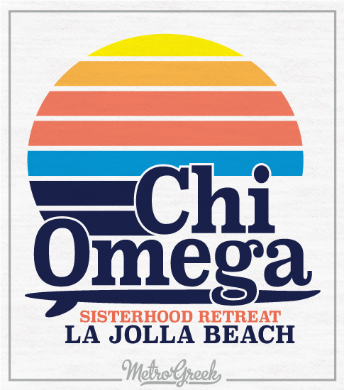 Chi Omega Retro Surf T-shirt