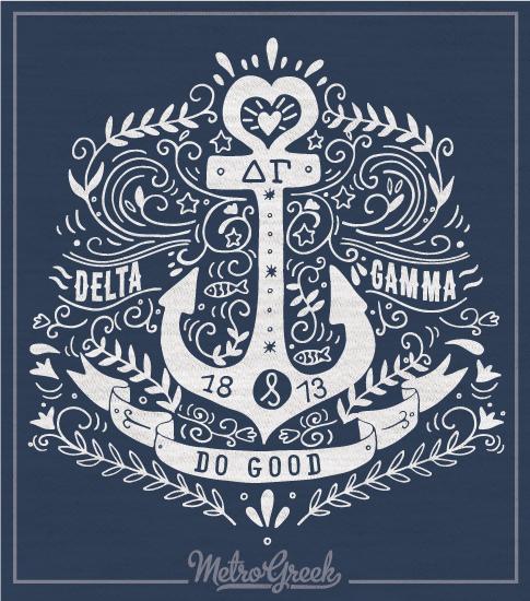 Delta Gamma Long Sleeve Anchor T-shirt