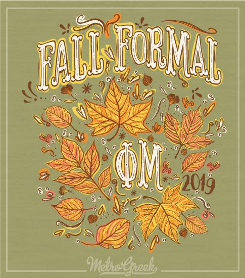 Phi Mu Fall Formal T-shirt Autumn Leaves