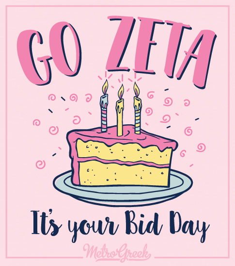 Zeta Bid Day Birthday Cake T-shirt