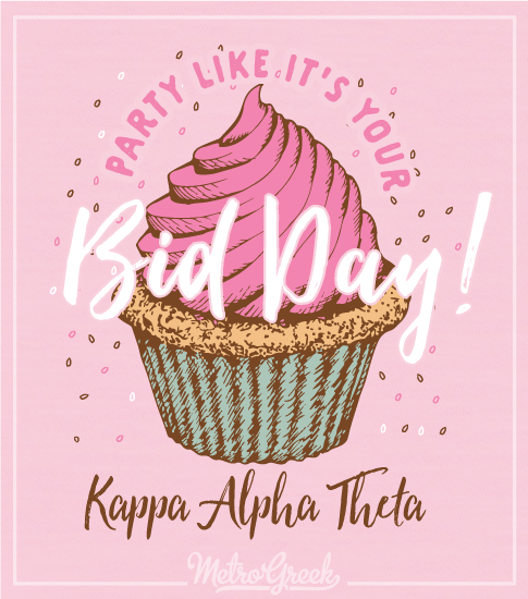 Theta Bid Day Shirt with Cupcake
