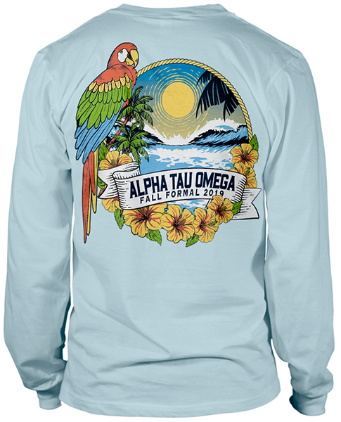 ATO Formal Shirt Parrot Beach Scene