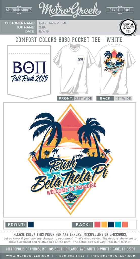 Beta Theta Pi Beach Rush Shirt