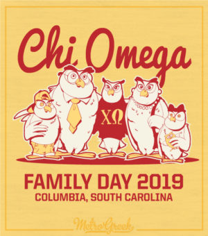 Chi Omega Family Day Shirt Owls
