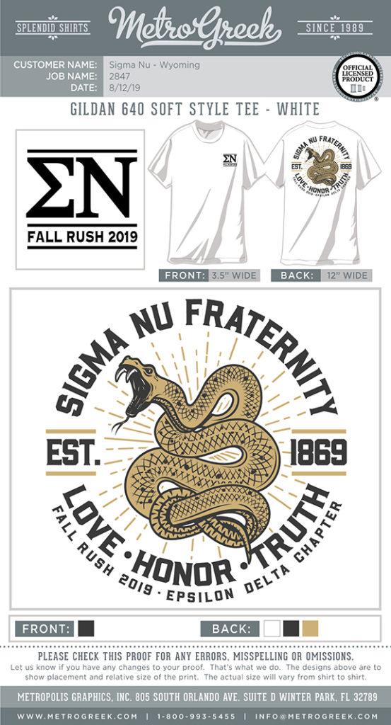Sigma Nu Fraternity Rush Shirt