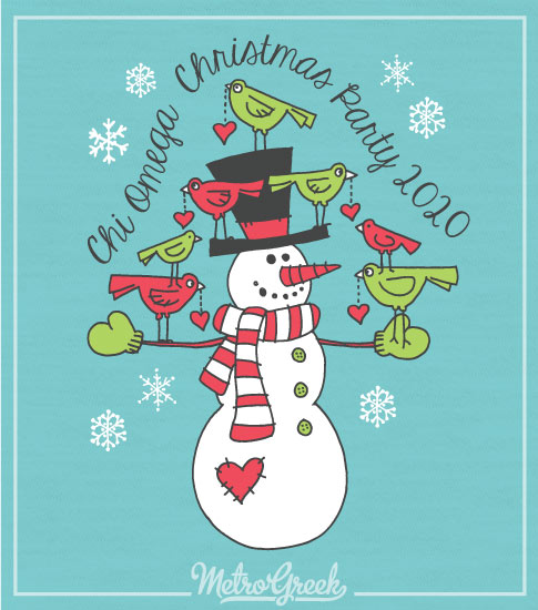 Chi Omega Christmas Snowman Shirt