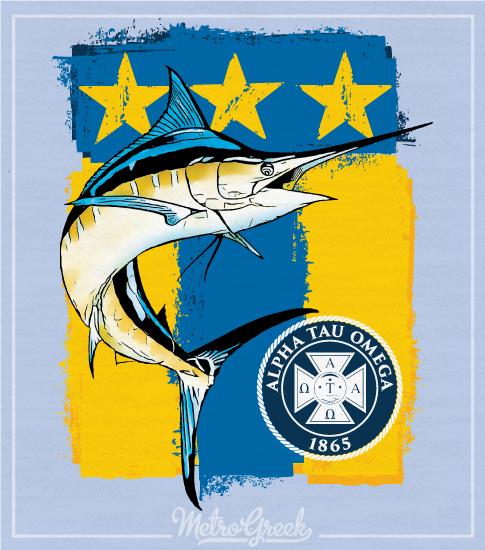 Alpha Tau Omega Shirt Marlin and Flag