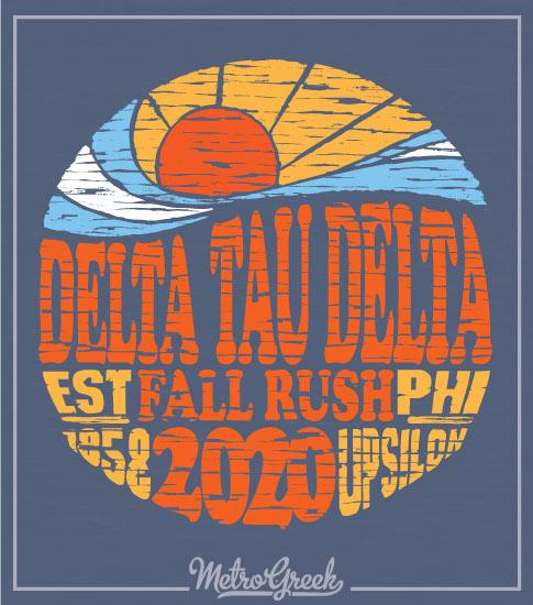 Delta Tau Delta Rush Shirt Retro Surf