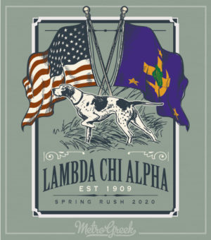 Lambda Chi Alpha Rush Shirt Dog and Flags