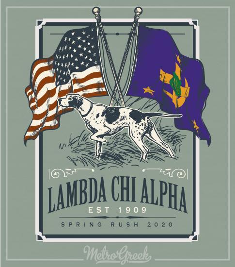 Lambda Chi Alpha Rush Shirt Dog and Flags
