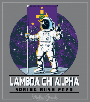 Lambda Chi Rush Shirt Astronaut with Flag