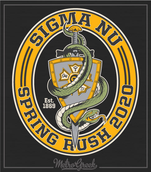 Sigma Nu Fraternity Rush Shirt Snake and Shield