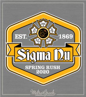 Sigma Nu Rush Shirt Hexagon Logo